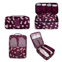 Bőröndrendező szett nőknek - Bordó virágos